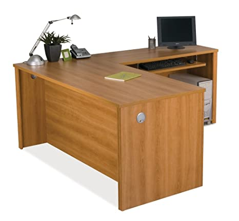 Amazon.com: Bestar Embassy L Shape Wood Home Office Computer Desk In  Tuscany Brown: Kitchen U0026 Dining
