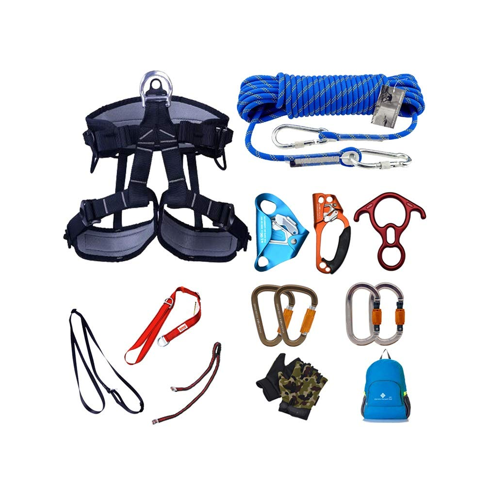A 10m Outdoor Climbing Rock Climbing Downhill HalfLength Harness Set Aerial Work Ascending and Descending Cave Exploration