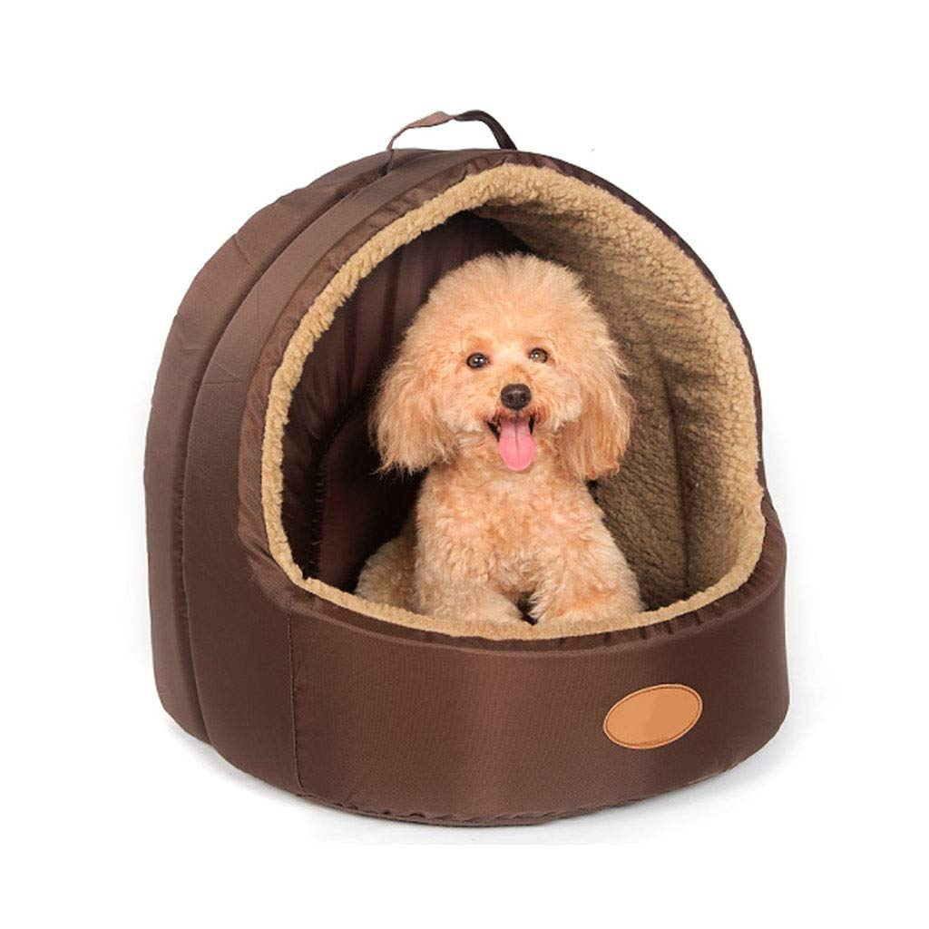 M Jlxl Pet nest, Medium Half Enclosed Dog House Four Seasons Universal Cat Bed With Handle Keep Warm Mat (Size   M)