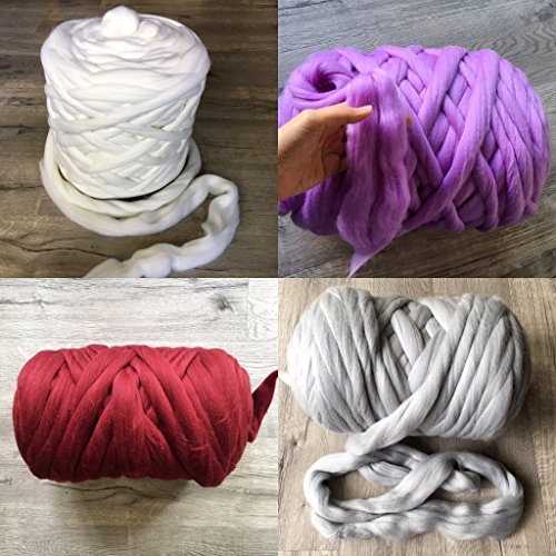 11 lbs/ 5 kgs Chunky arm knitting yarn Merino wool Super bulky soft giant knit large for arm knitted blanket 21.5 microns huge yarn Queen King size blanket - Christmas present idea by Wonddecor (Image #3)