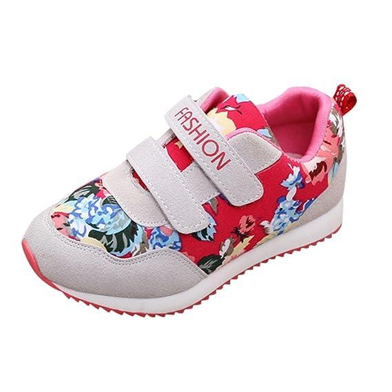 YanHoo Zapatos para niños Zapatillas de Deporte Casuales con Estampado de Flores y Letras para niños Niños y Niñas Carta Estampado de Flores Zapatos de ...