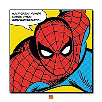 Image result for spiderman with great power comes great responsibility