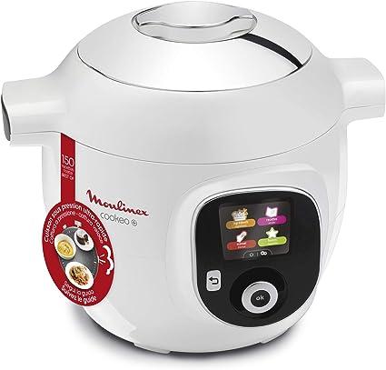 Moulinex Olla multicocción inteligente de alta presión, 6 litros, 150 recetas, 6 modos de cocción, guía paso a paso, uso fácil y rápido 150 recetas, recipiente blanco blanco: Amazon.es: Hogar