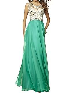 M Bridal Womens Rhinestones Illusion Scoop Neck Sweep Train Chiffon Prom Dress