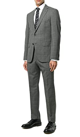 13c8c2191 Image Unavailable. Image not available for. Color: Hugo Boss Men's  'Johnstons/Lenon' Grey Slim Fit Virgin Wool Checked Suit,