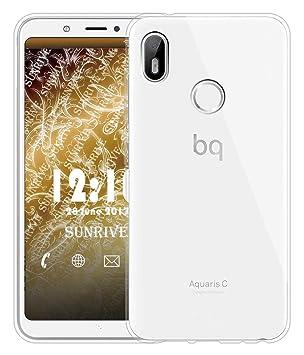 Sunrive Funda para BQ Aquaris C, Silicona Slim Fit Gel Transparente Carcasa Case Bumper de Impactos y Anti-Arañazos Espalda Cover para BQ Aquaris ...