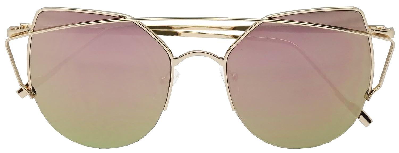 f3e0509dc58 Amazon.com  Women s Half Frame Cross Bar Flat Color Mirrored Lens Metal Cat  Eye Fashion Sunglasses (Gold   Pink