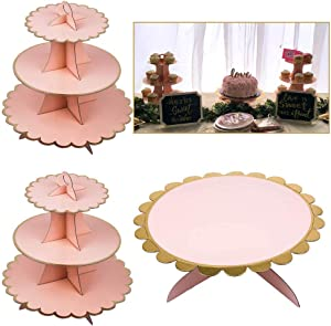 3-Pack Cardboard Cupcake Stand Dessert Tower 3 Tier(2PC) + 1Tier(1PC) Paper Cake Stand (Pink and Gold)