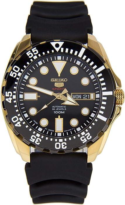 e1bb5f4c5 Seiko 5 Sports SRP608J1 Men's Japan Gold Tone Black Rubber Band 100M Dive  Watch