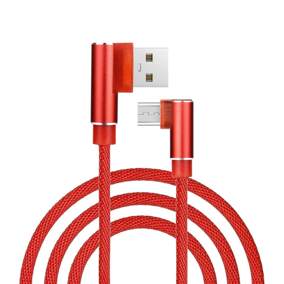 Right Angle Micro USB Cable, Charging Cable Iuhan 3.28FT/6.56FT/9.84FT 90 Degree Fast Charging Hemp Rope Micro USB Charger Sync Data Cable Cord for Android Smart Phone (3M/9.84FT, Red)