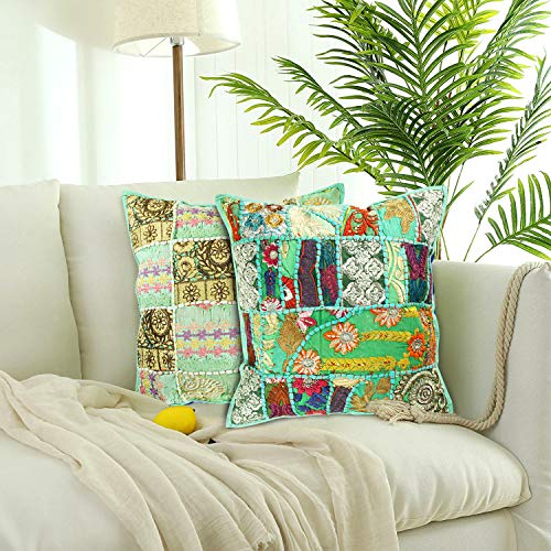 Aheli Set of 2 Cushion Covers for Throw Pillows Decorative Indian Embroidery Sequins Patchwork Square Cases Home Sofa Bedding Decor