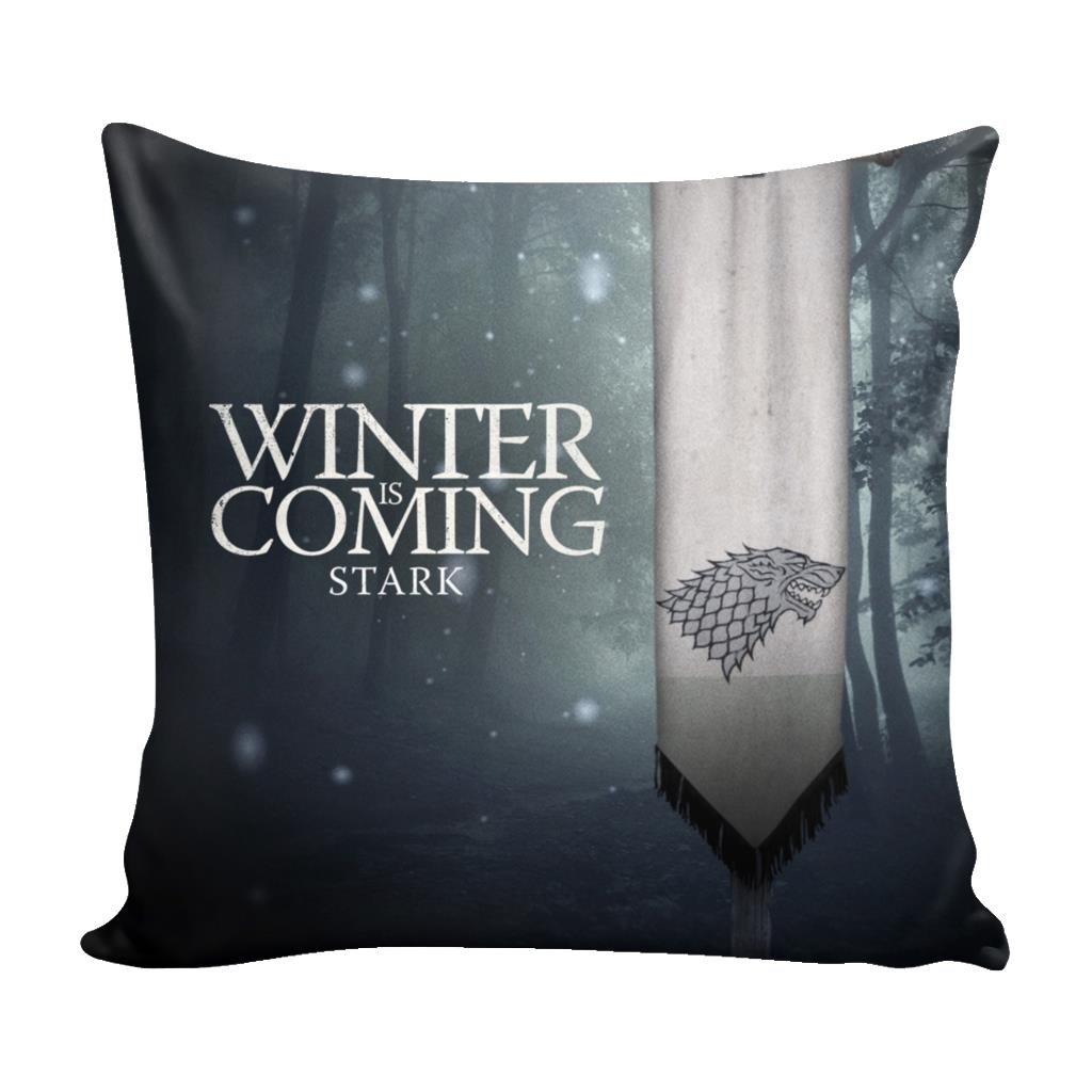 Game of Thrones House Stark, Tully, Greyjoy, Tyrell, Arryn, Baratheon, Bolton, Clegane House Banner 16'' x 16'' Pillow Cover inspired by Game of Thrones Accessories Merchandise (House Stark)