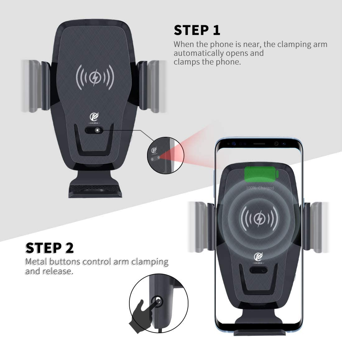 Wireless Car Charger,KAIHDA 10W Qi Fast Charging Auto-Clamping Car Mount,Windshield Dash Air Vent Phone Holder Compatible iPhone 11//11 Pro//11 Pro Max//Xs MAX//XS//XR//X//8//8+,Samsung S10//S10+//S9//S9+//S8//S8+