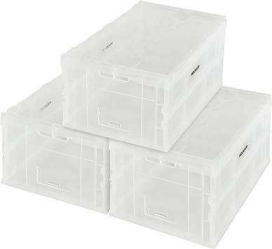 Mount-It! Plástico Plegable Caja Almacenamiento, Plegable Utilidad Distribución Recipiente con Tapa Adjunta, 65L Litros Capacidad, Paquete de 3, Claro: Amazon.es: Bricolaje y herramientas