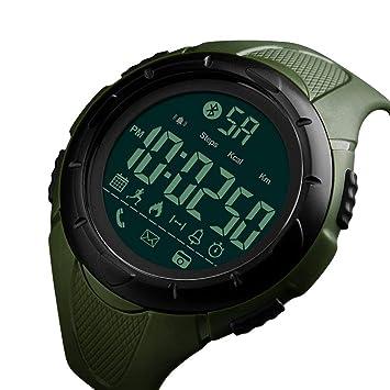 WULIFANG La Moda Masculina Smart Watch Impermeable Reloj Digital Podómetro Calorías Cámara Remota Reloj Bluetooth Verde: Amazon.es: Deportes y aire libre