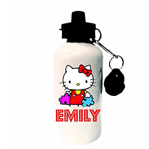 Hello Kitty Personalised Childrens Drinks, Sports, School, Lunch Water Bottle, White