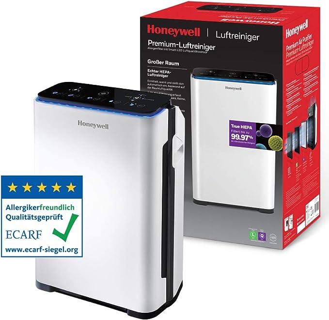 Purificador de aire Honeywell Premium (filtro True HEPA, sensor de alergias, de calidad del aire, CADR 204m3/h, filtrado de 4 etapas) HPA710WE