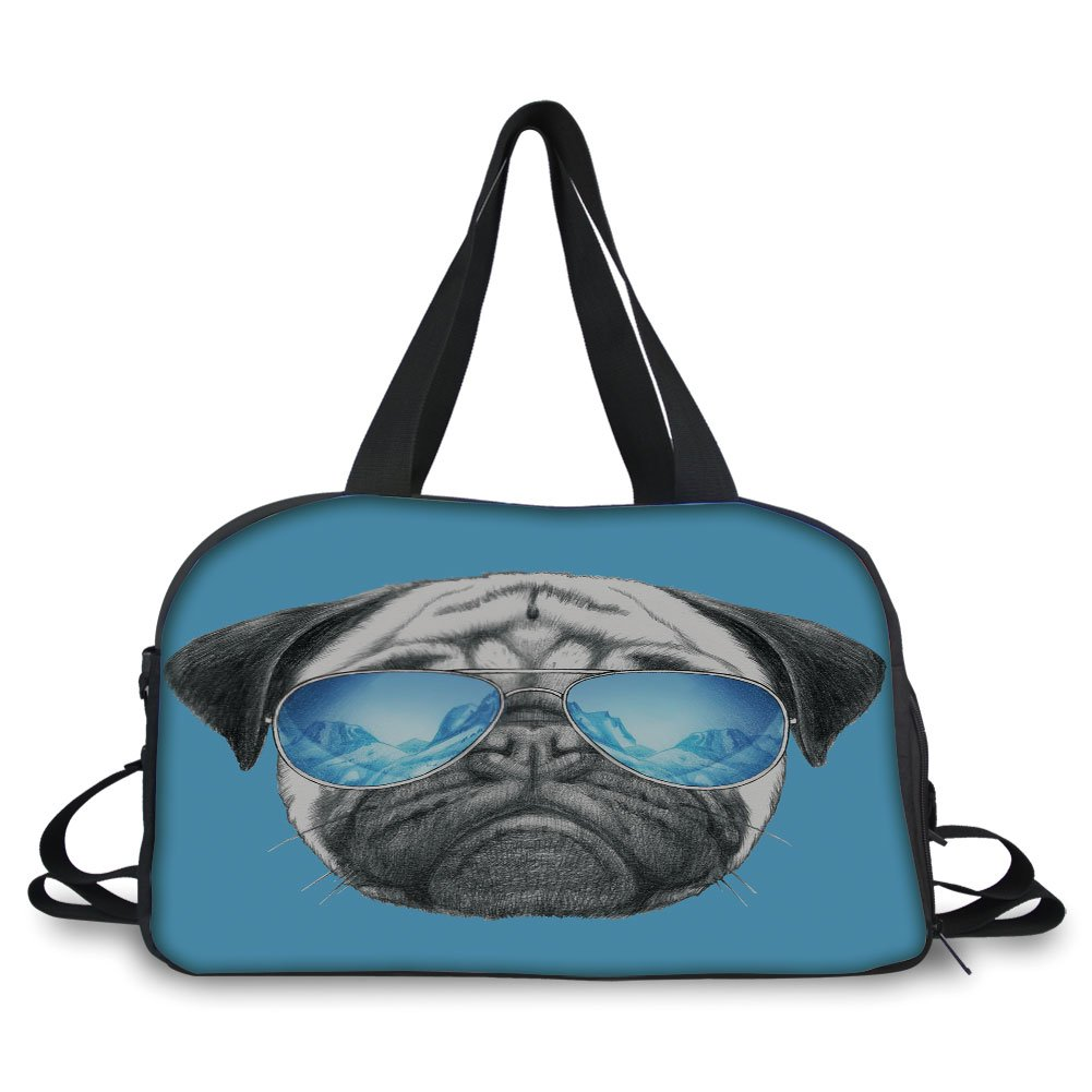 iPrint Travelling bag,Pug,Pug Portrait with Mirror Sunglasses Hand Drawn Illustration of Pet Animal Funny,Pearl Blue Black ,Personalized