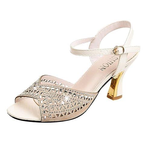 060f6c29f TIFENNY Women High Heel Shoes Sandals Ladies Fashion Rhinestone Decor  Crystal Buckle Open Toe Shoes Sandals