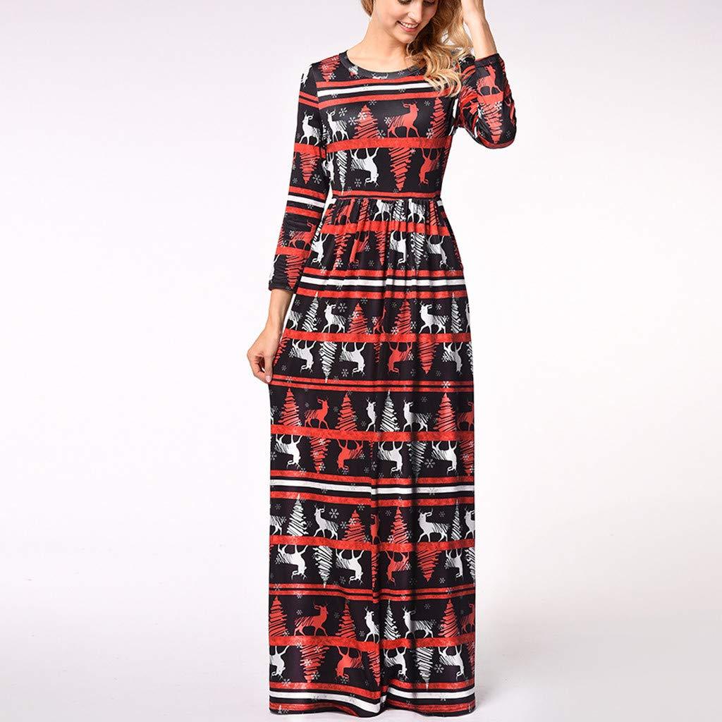 Women Women Christmas Long Dress Ladies Long Sleeve Vintage Santa Claus Print O-Neck A Line Long Formal Evening Dresses