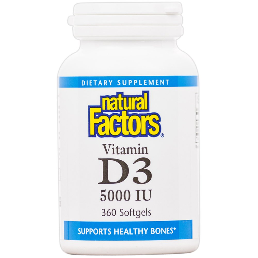 Natural Factors - Vitamin D3 5000 IU, Supports Healthy Bones, 360 Soft Gels