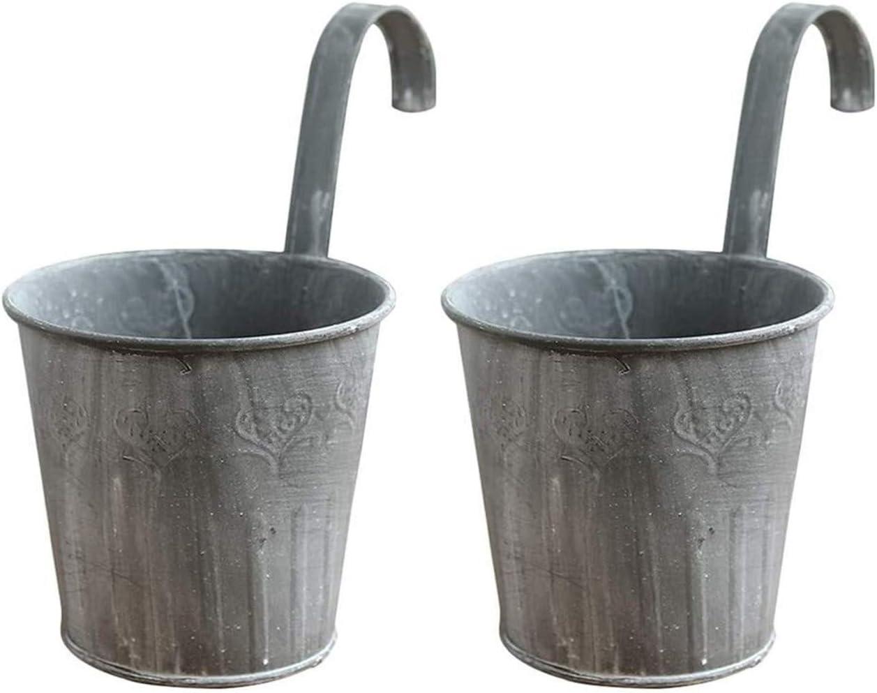 Flower Pot 2pcs Hierro Metal Profesiones artísticas crisol Colgante de la Vendimia Hierro Estaño Cubo Tiesto Innovador plantador de la Flor Cultivar un huerto casero de la decoración (Color : A)