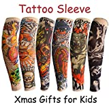 """6pcs Temporary Tattoo Sleeve for Kids Boys Girls, Fake Slip on Arm Sunscreen Sleeves Body Art Stockings Sun Protector Accessories For Outdoor Sport - Design Tribal Tiger Dragon Skull 2.9x11.8x2.1"""""""