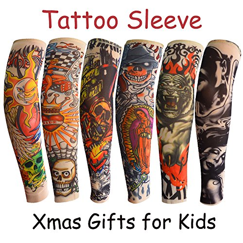 6pcs Temporary Tattoo Sleeve for Kids Boys Girls, Fake Slip on Arm Sunscreen Sleeves Body Art Stockings Sun Protector Accessories for Outdoor Sport - Design Tribal Tiger Dragon Skull 2.9x11.8x2.1