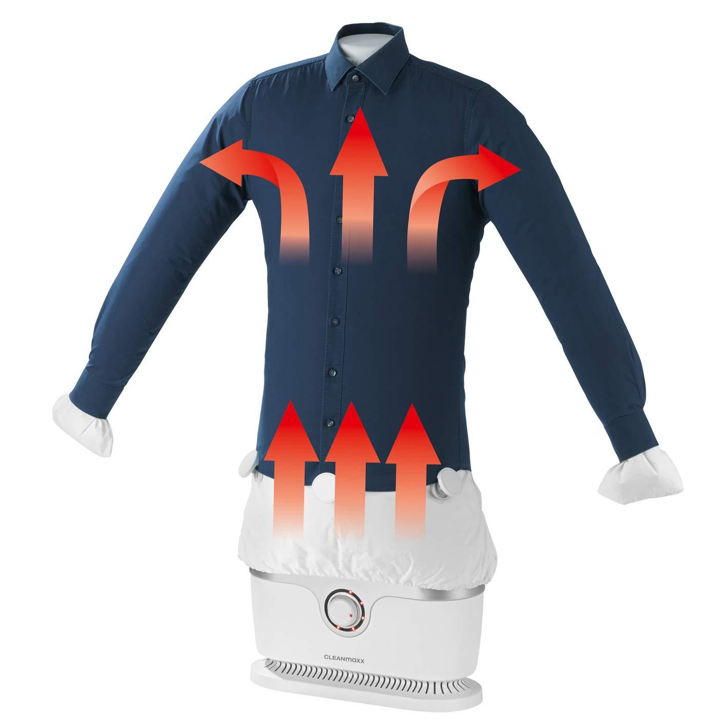 CLEANmaxx Repassage automatisé pour les chemises | Poupée des branches (vêtements secs et lisses automatiquement en une seule étape) (Blanc) 95