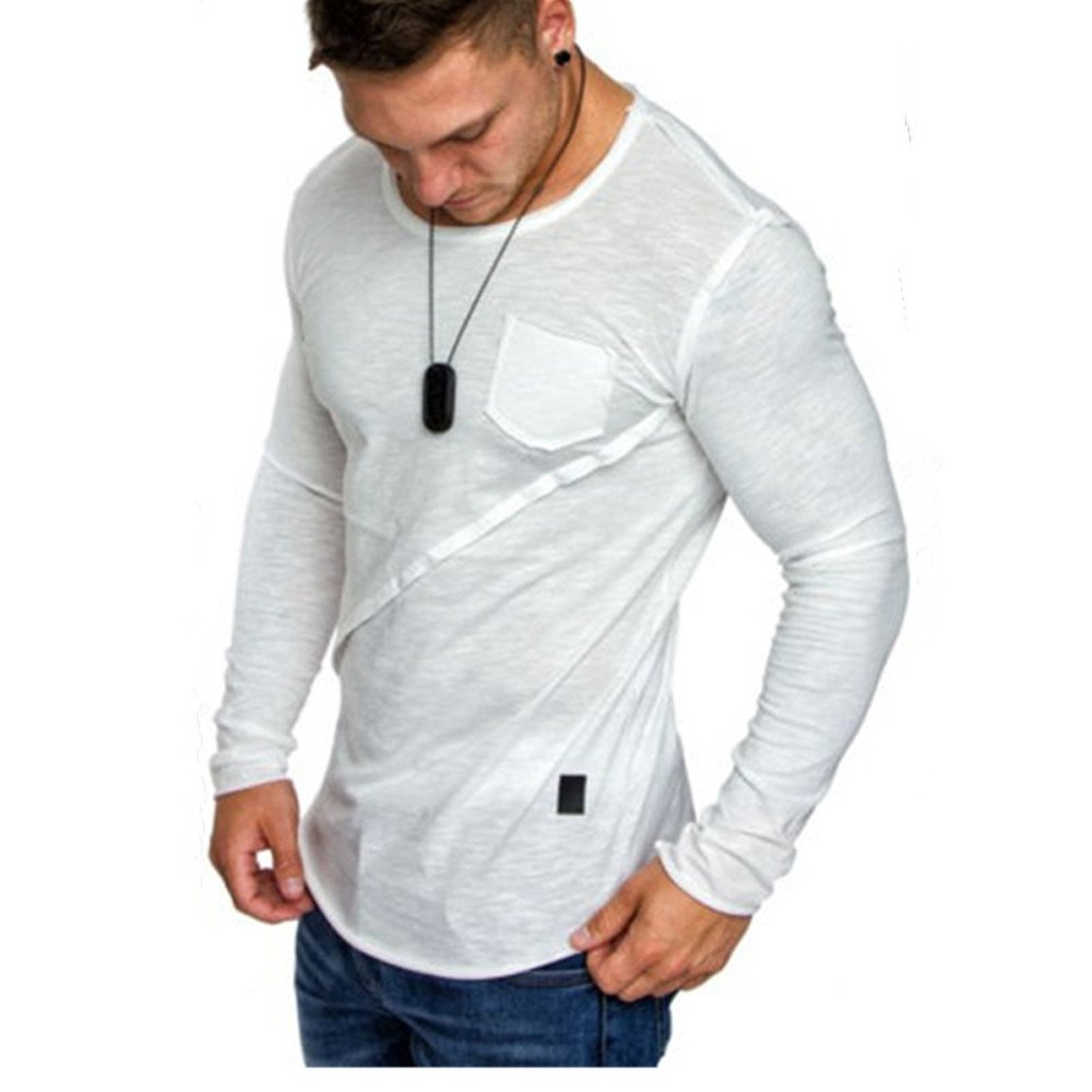 Men Tops Hot WEUIE Men Long-Sleeve Beefy Muscle Button Basic Solid Pure Color Blouse Tee Shirt Top (M,White)