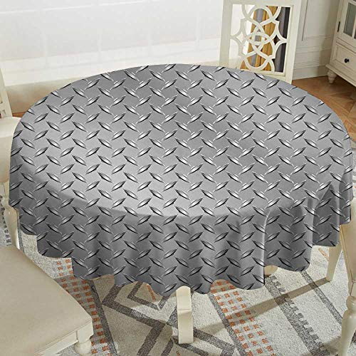 - 100% Polyester Round Tablecloth 54 Inch Grey,Wire Fence Design Netting Display with Diamond Plate Effects Chrome Kitsch Motif Print,Silver Great for Traveling & More