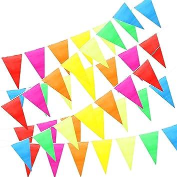 ZoneYan Banderines Decoración, Bunting Banner, Banderín Multicolor 50M con 100 Bunting Bandera de Triángulo para el Partido Jardín al Aire Libre y Otras Fiestas: Amazon.es: Juguetes y juegos
