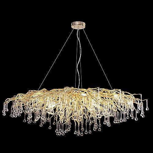 ANTILISHA Modern Crystal Chandelier Rectangle Pendant Light Fixture