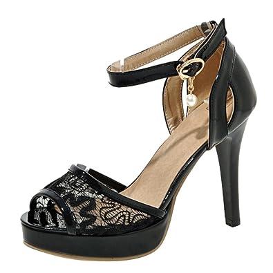c84fc3632e2f99 TAOFFEN Damen Sommer Plateau Sandalen Party Buro Schuhe mit Absatz Black Gr  31 Asian