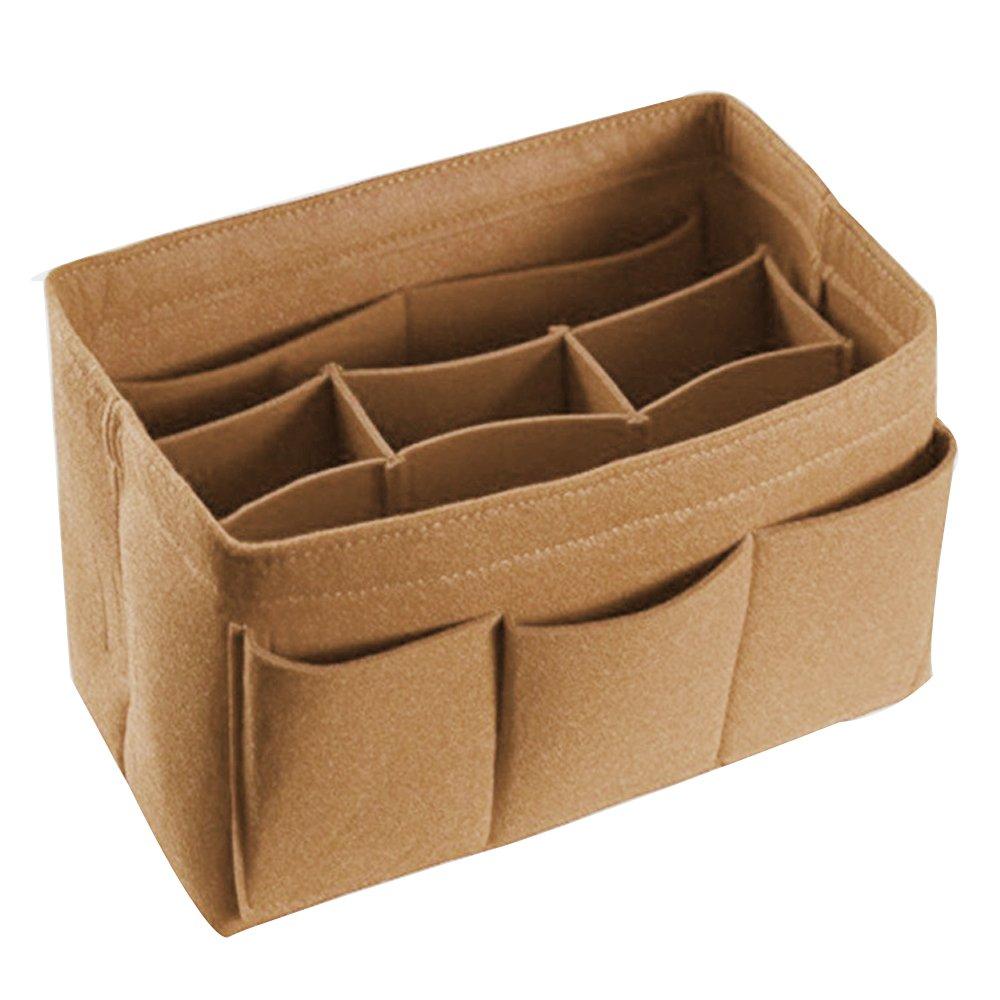 POPGRAT Purse Insert Makeup Organizer Purse Felt Tote Handbag Divider Bag in Bag Organizer Hand Purses for Women(2 Coffee)