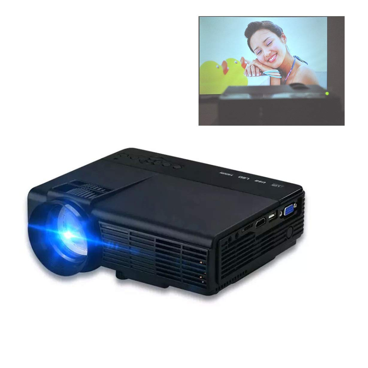 Amazon.com: LiChenYao Q5 Mini Projector, with Big Display ...
