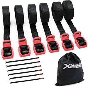 Xiangle Premium Quality Cam Buckle Lashing Straps with Rubber Protector(6pcs), Break Strength 550lbs, 1-inch-16ft-For RV, Kayak, Moving Canoes, Roof Racks and Boat (1, 16ft)