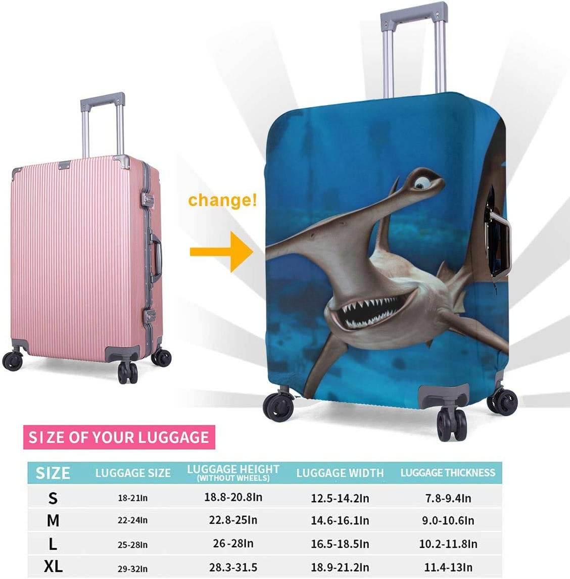 Funny Hammerhead Sharks Elastic Travel Luggage Cover,Double Print Fashion Washable Suitcase Protective Cover Fits 18-32inch Luggage