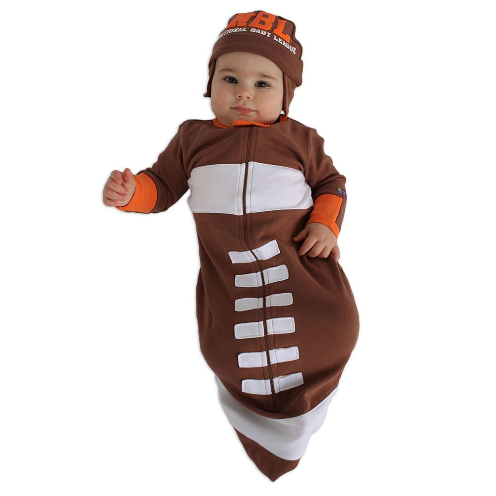 Sozo Baby-Boys Newborn Football Bunting and Cap Set Brown/White/Orange One Size BUNT13