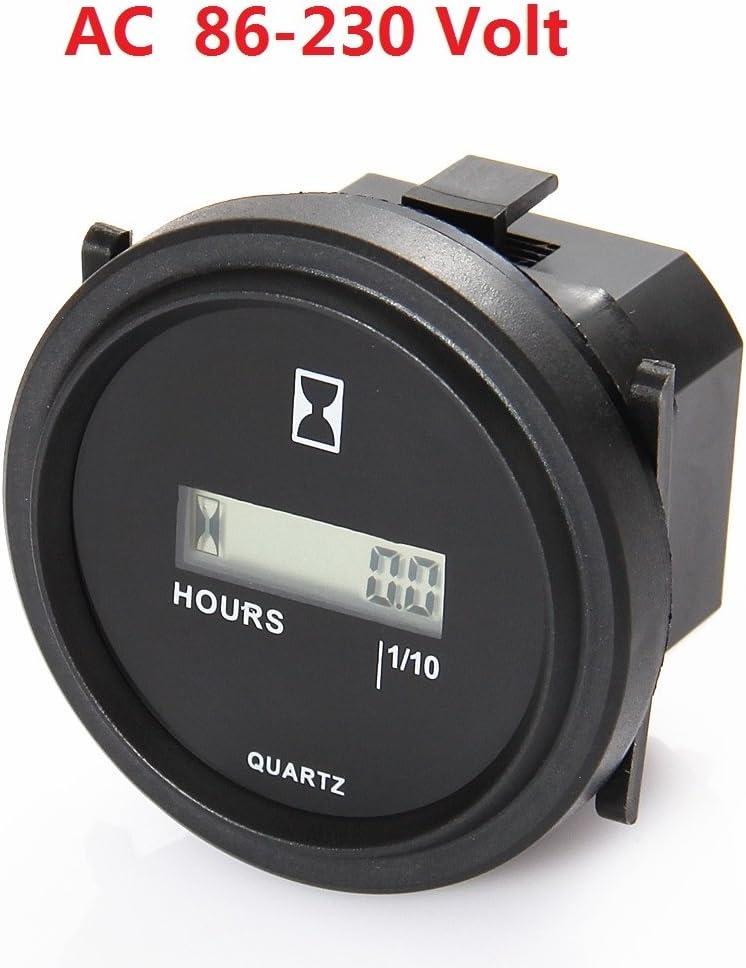 SEARON Digital Round Hour Meter 110V 120V 220V 230V AC for Generator ATV Lawn Mower Chainsaw Compressor Tiller Chipper