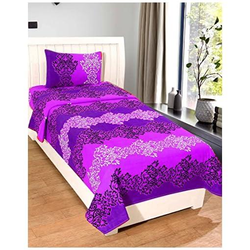 Homefab India 140 TC Polycotton Single Bedsheet With 1 Pill