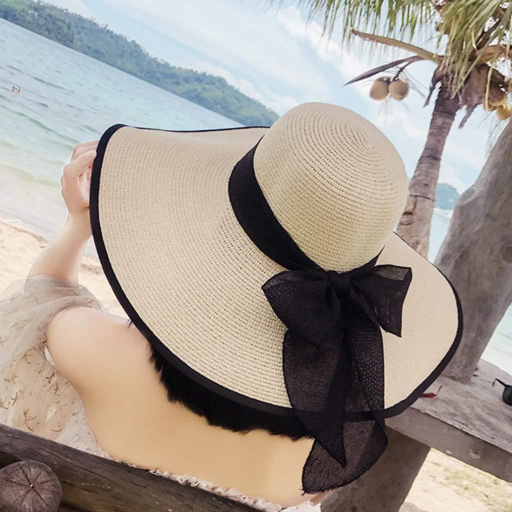 Summer Beachwear puhoon Women Foldable Straw Sun Hat Ribbon Bowknot Black Wide Brim Hats