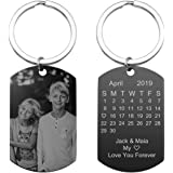 Personalized Photo Calendar Text Keychain Custom Picture Date Dog Tag Keyring