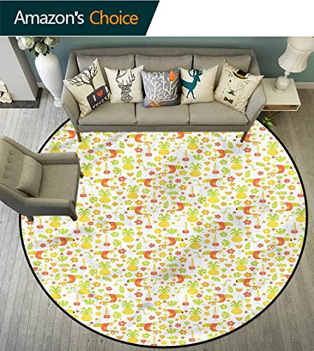 (RUGSMAT Luau Round Rug,Toucan Birds Pineapples Area Rug - Perfect for Any Place Diameter-71)