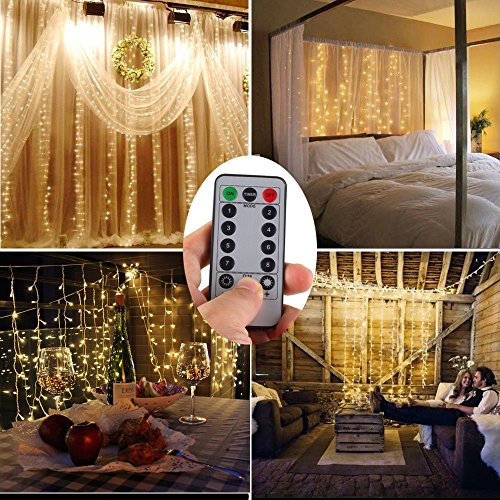 Battery Operated 300 LED Curtain String lights w/ Remote & Timer, Outdoor Curtain Icicle Wall Lights For Wedding Backdrops, Christmas, Holiday, Camping Decoration (9.8×9.8ft, Dimmable, Warm White) (Lights Hanging Battery Operated)