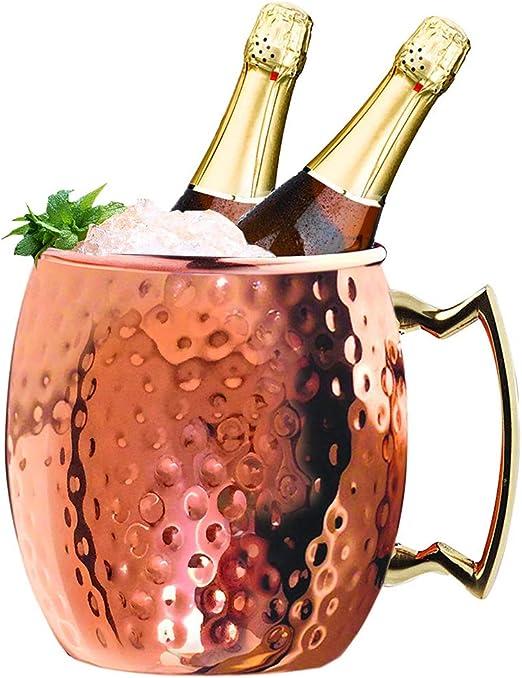 IUYJVR Secchiello per Ghiaccio Secchiello per Feste Moscow Mule Copper Drinks Cooler con Manico per Vino Champagne Birra Prosecco 5L Rose Gold