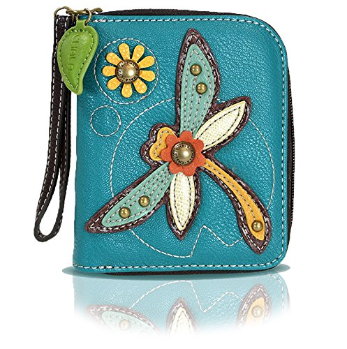 Chala Zip Around Wallet, Wristlet, 8 Credit Card Slots, Sturdy Pu Leather (Turquoise Dragonfly)