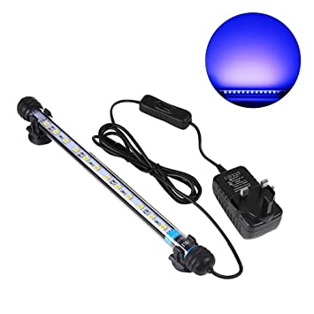 UEETEK 28CM LED Pecera Luces de iluminación del acuario 5050 SMD RGB Barra de Luz Subacuática sumergible impermeable Clip lámpara - Azul (Europe Standard ...
