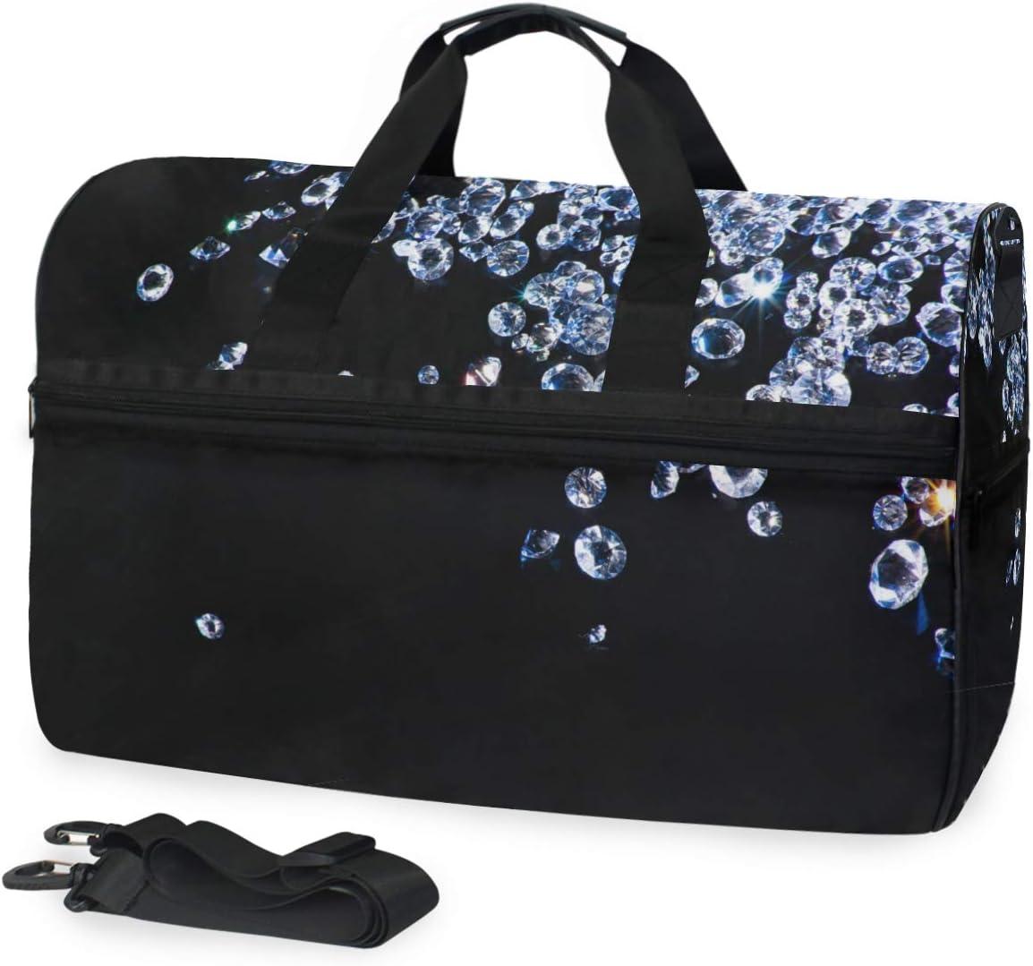FAJRO Duffle Bag for Women Men Shinning Diamond Travel Duffel Bag Large Size Water-proof Tear Resistant