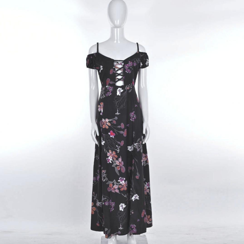 OverDose Damen boho ärmellos Sommerkleid Halfter Maxi kleid Printed ...